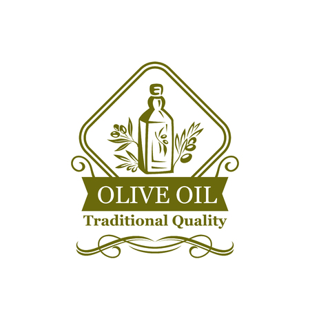 Olive oil green icon of natural organic oil bottle label. Oil jug with olive tree branch, green leaf and fruit isolated badge, decorated by ribbon banner and swirling ornament for food design