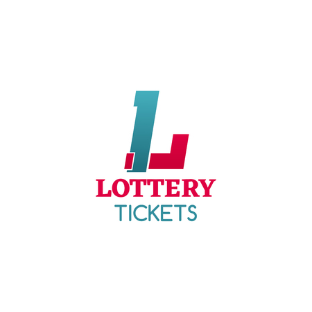 Abstract creative icon lottery tickets, red and blue colors. Concept of lottery machine and games of chance or wheel drum leisure. Vector icon of lottery ticket isolated on white background 스톡 콘텐츠 - 114520653