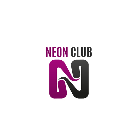 Neon club vector sign isolated on a white background. Creative symbol for night show or nightclub. Abstract icon for advertisement of party or music club, magenta and gray colors