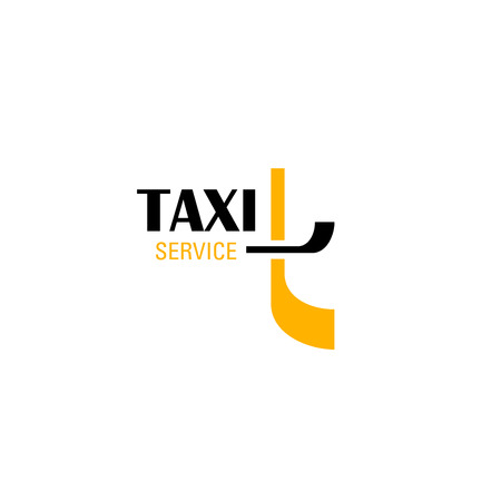 Taxi service emblem for transportation company business card template. Abstract alphabet symbol of letter t in yellow and black colors for public transport branding and corporate identity design