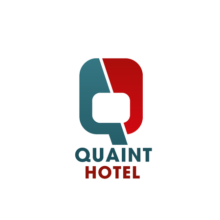 Hotel or hostel letter Q icon of quaint travel accommodation. Vector isolated letter Q for tourist holiday resort or vacation hotel and backpacker modern hostel or guesthouse design