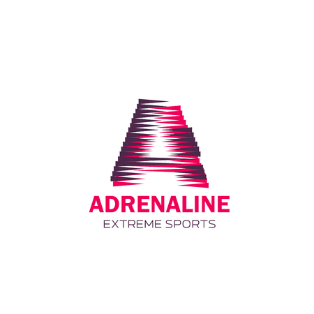 Extreme sport icon with Adrenaline symbol for branded emblem design. Modern alphabet letter A, composed of pink and violet triangle for sporting competition or club corporate identity template