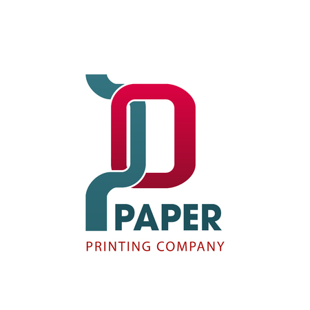 Paper printing company symbol for business card template. Abstract letter P, composed of red and gray geometric shapes. Corporate identity font for printing service and typography emblem design Illustration