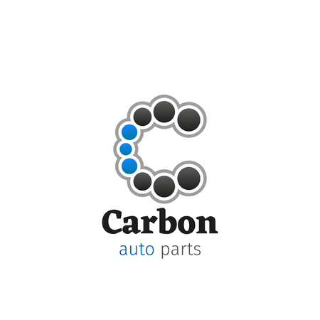 Letter C icon for car auto parts or repair design service and garage station design. Vector carbon circles symbol of letter C for car mechanic or repairman and automobile spare parts store