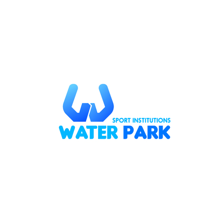 Vector icon for water park or aqua park and swimming pool. Sport swimming institutions creative emblem in blue color. Concept of water sport and healthy lifestyle, branding identity corporate badge