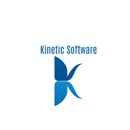 Kinetic software vector sign isolated on white background. Technology abstract icon, concept of biotechnology and science. Electronics badge for corporate identity.