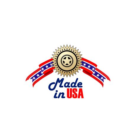 Insignia Made in USA, símbolo de la fabricación de productos de primera calidad en los Estados Unidos de América. Signo creativo hecho en Estados Unidos aislado sobre fondo blanco. Emblema con estrella dorada Ilustración de vector