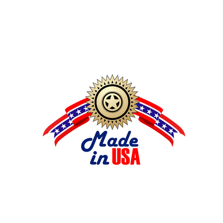 Made in USA badge, symbol of premium quality product manufacturing in United States of America. Creative sign made in USA isolated on a white background. Emblem with golden star