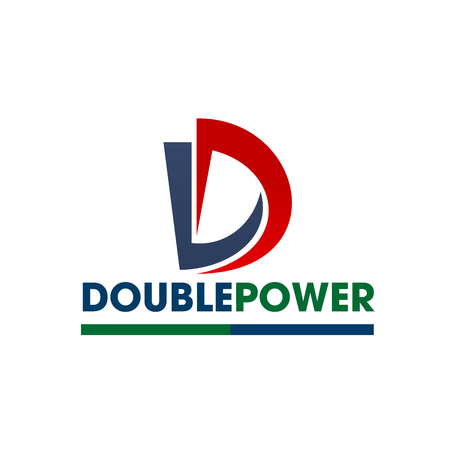 Power production or electricity energy company icon of D letter. Vector double letter D design for electricity technology or industrial power supply corporation or light equipment engineering