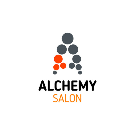 Alchemy Salon icon of A letter in for SPA body and hair beauty salon, perfumery or jewelry shop. Vector isolated letter A for woman skincare beauty and massage or hairdresser stylist Illusztráció