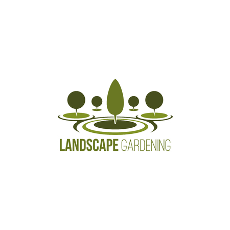 Landscape gardening vector sign. Creative green icon for gardening service company. Concept of nature saving, recreation and urban park. Vector icon with green trees isolated on white background