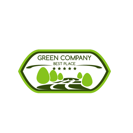Green company icon for best award of trees or nature park and forest for landscaping design or earth ecology protection concept. Vector green parkland for horticulture gardening and planet environment