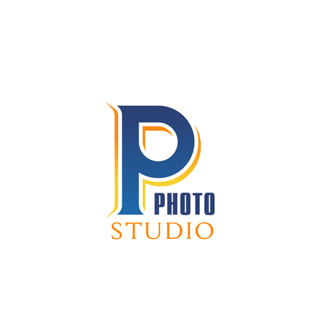 Photo studio icon of P letter fro professional photography workshop or masterclass. Vector isolated letter P for photo shooting study and photographer slaon or laboratory