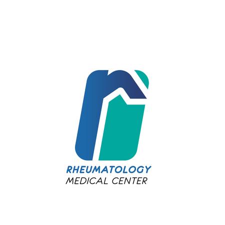 Rheumatology medical center symbol for business card template. Corporate identity font of blue alphabet letter r for medical company branded emblem or clinic signboard design Illustration