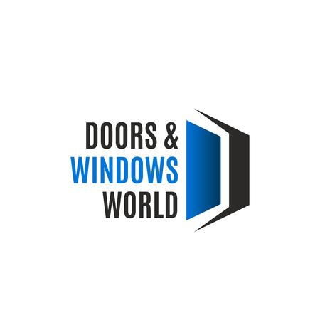 Icono de la letra D para la empresa de producción e instalación de puertas y ventanas de casas. Vector símbolo de puerta o ventana abierta de la letra D para el concepto de construcción de casas ecológicas y la industria de la vivienda o la construcción