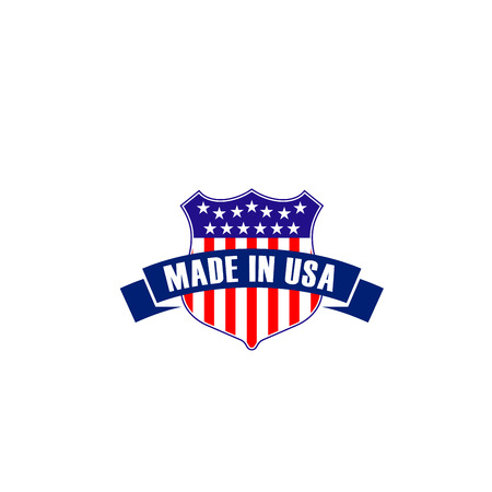 Vector badge made in USA in shape of shield isolated on a white background. Creative emblem in patriotic colors of United States. Concept of export products manufactured in USA, symbol of quality