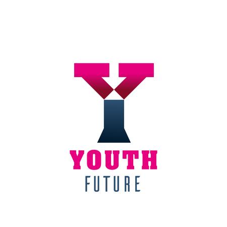 Jugendzukunftssymbol für Visitenkartenvorlage. Moderne Schrift des Alphabets Y, bestehend aus rosa und grauem Rechteck für das Corporate Identity-Design des Jugendclubs oder der Organisation Vektorgrafik