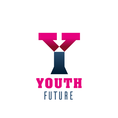 Youth future symbol for business card template. Modern font of alphabet letter Y, made up of pink and gray rectangle for young people club or organization corporate identity design