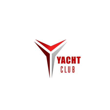 Yacht club icon for nautical and sailing sport branded emblem. Corporate identity font of Y alphabet letter made up of red and grey triangle for business branding and sporting themes design