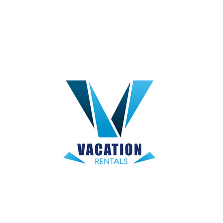 Vacation rentals symbol for real estate agency business card template. Abstract letter V, composed of blue triangle for resort and travel company corporate identity design