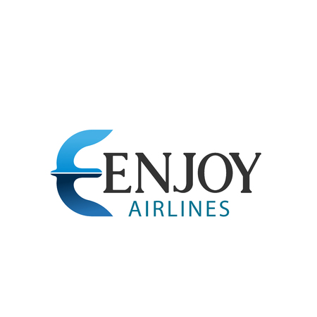 Airlines company E letter icon template. Vector fying bird or wings shape letter E symbol for air transportation or iraline brand and travel agency in modern trendy colors