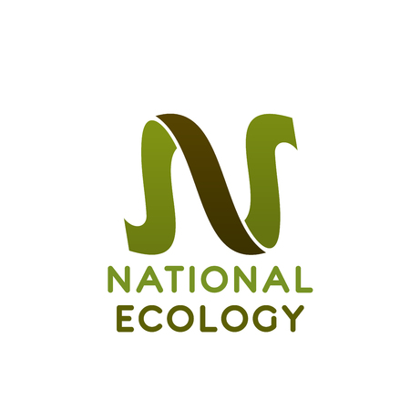 National icon of letter N in eco green color for environment protections and ecology conservation concept. Vector isolated symbol of letter N for save planet or earth ecology protection association  イラスト・ベクター素材