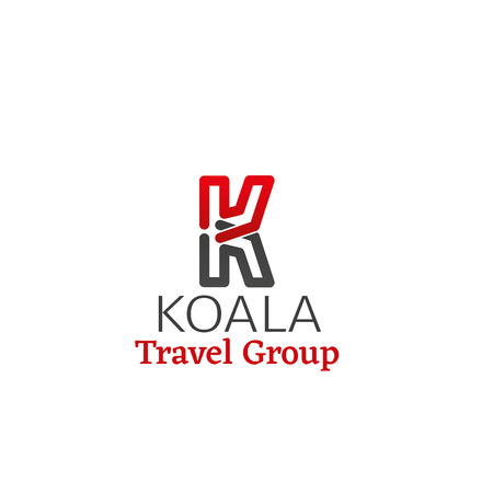 Koala travel group vector sign. Creative emblem in red and gray colors for tourism business or group of travel companies. Abstract badge isolated on white background. Concept of vacation and holiday