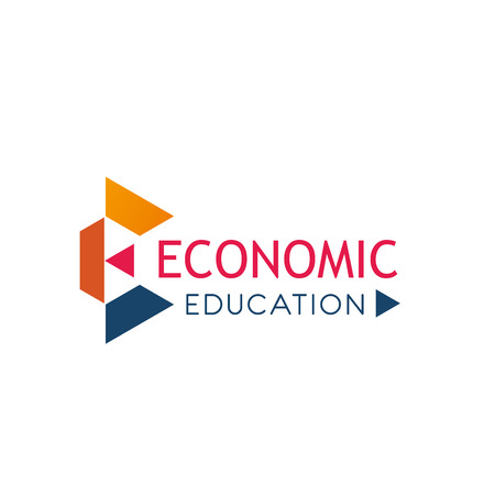 Economics school E letter icon for trade marketing and economic research university education. Vector geometric letter e symbol for market analysis and consulting or business development college Illustration
