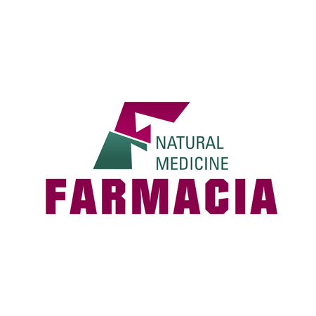 Farmacia F letter icon for drug store or natural medicine pharmacy. Vector medical healthcare isolated letter F for health therapy and pharmaceutical industry, treatment clinic or test laboratory