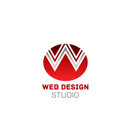 W letter icon for web studio design company. Vector isolated letter W on red circle symbol for digital designing or web site programing and designers studio or internet agency