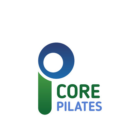 Pilates studio icon for health center or fitness sport club branding design. Corporate identity abstract font of blue and green alphabet letter P for yoga studio or wellness club emblem template