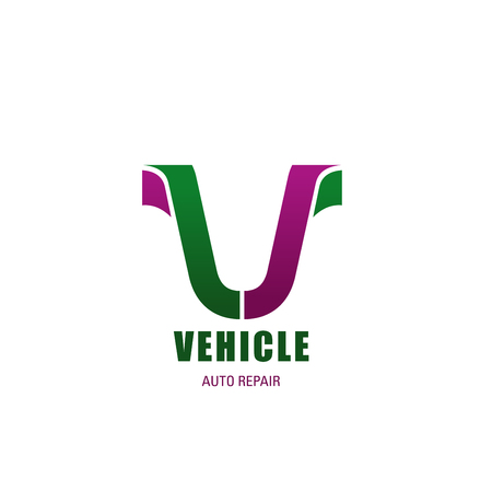 Vehicle repair V letter icon for auto repair service station. Vector letter V symbol for motorcycle or bicycle spare parts and repair shop or sport bikes and car garage or store Illusztráció