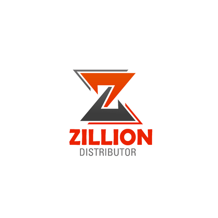 Zillion icon template of letter Z for construction, market distributor or retail sales company. Vector isolated symbol of Letter Z in orange and gray colors for industrial brand corporate design