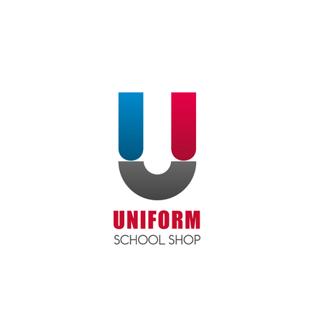 U letter icon for school uniform shop. Vector geometric U in magnet shape template for school, university or college students clothing costumes and suits store in modern trendy colors Illustration