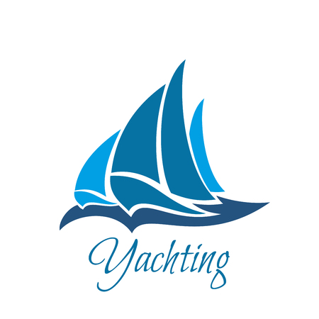 Vector icon with sailing yacht. Creative badge for yachting club. Marine life and sailing concept. Emblem in blue colors for yacht club or sea sport organization, isolated on white background