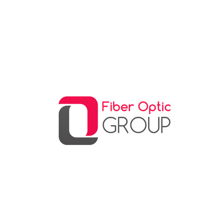 Fiber optic group vector icon isolated on a white background. Concept of fiber optic digital cable, internet connection. Creative badge in pink and gray colors for telecommunications company Ilustração