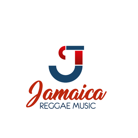 Reggae music J letter icon for Jamaica music production label or online streaming audio media service. Vector letter J symbol for recording company or digital multimedia application