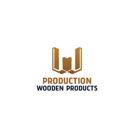 Production wooden products vector sign isolated on a white background. Abstract badge for studio of wood processing. Concept of woodworking, carpentry profession