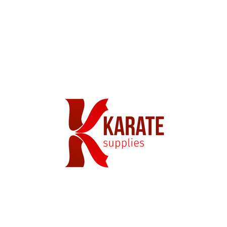 Vector icon for karate supplies shop isolated on white background. Sportive goods shop emblem in red colors. Concept of fight and strength, sign for boxing or karate club