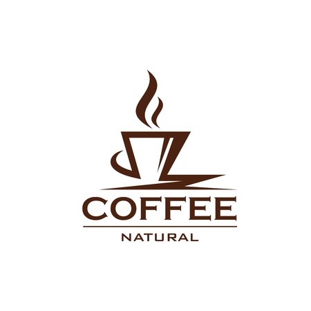 Koffiekopje pictogram ontwerp voor café of bar menu. Natuurlijke koffie ontwerp label geïsoleerd op een witte achtergrond. Concept van warme dranken en koffiedranken. Koffiewinkel abstracte badge