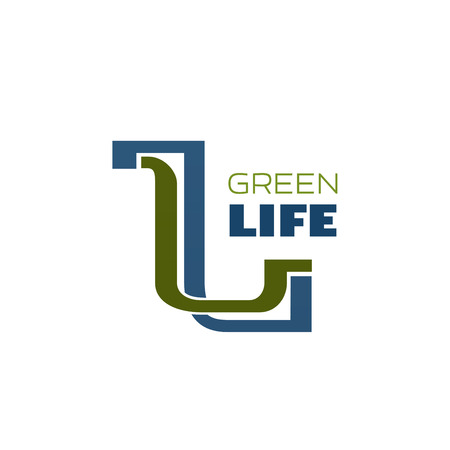 Green life symbol for nature, ecology and eco friendly lifestyle concept. Blue and green letter L isolated icon for environment protection themes, organic and bio product emblem design