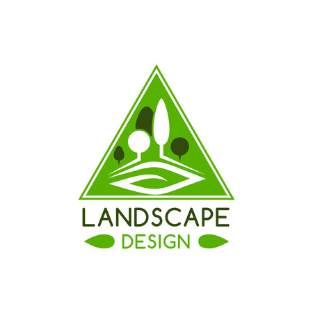 Landscape design badge with ecology nature park tree and green leaf. Summer garden plant for landscaping architecture studio, gardening and lawn care service emblem design