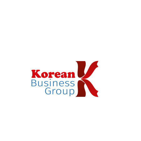 Korean business group vector icon isolated on a white background. Concept of community union or business partnership. Creative badge for teamwork group or corporate connection