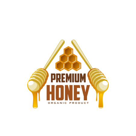 Honey natural organic product premium icon for beekeeping production industry. Vector honey honeycomb and dipping wooden spoons with honey drops splash for apiary beekeeping or packaging design