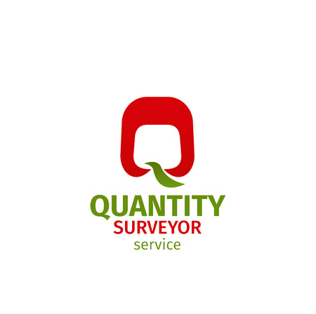 Quantity surveyor service vector icon isolated on a white background. Vector badge for architect agency or engineering business company. Concept of measuring or quantity surveyor Ilustracja