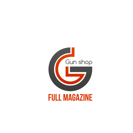 Gun shop full magazine vector sign isolated on white background. Creative badge in red and gray colors for gun store. Concept of military and danger, hunting or shooting hobby