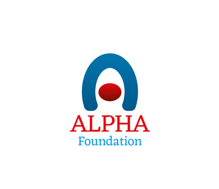 Alpha foundation vector sign isolated on a white background. Abstract universal badge for some charity foundation or organization. Emblem in red and blue colors for any company Ilustrace