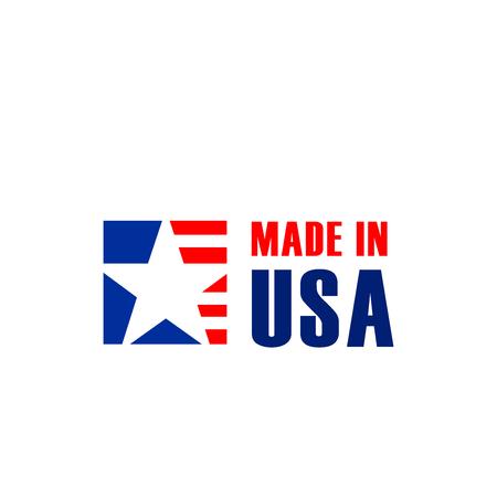 Signe de vecteur fabriqué aux États-Unis isolé sur fond blanc. Badge créatif pour les produits fabriqués aux États-Unis pour l'exportation. Concept de garantie de qualité et d'entreprise de production de vente