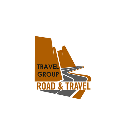 Travel group vector icon. Concept of road and travel. Vector label for travel company. Concept of adventure, tourism and vacancy. Badge design in brown and gray colors