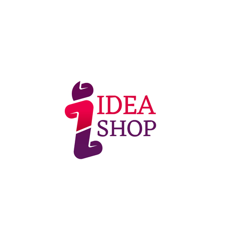 Abstract shop vector sign isolated on white background. Idea shop design, concept of shopping and marketing. Abstract shopping icon for store branding in pink and magenta colors